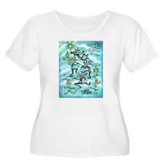 Kokopelli designed by Jean B. Fitzgerald available from HeartBridgeGallery.com on a T-Shirt + lots of other products too and with different colored backgrounds.