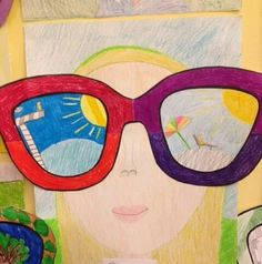 Refleksjoner fra en ferie. Hva har du sett gjennom brillene dine. Cute Kids Crafts, Valentine's Day Crafts For Kids, Summer Crafts, Summer Art, Art For Kids, 8th Grade Art, Creative Arts And Crafts, Ecole Art, Virtual Art