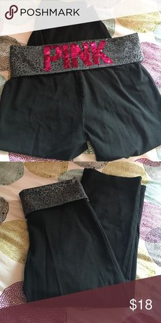 Victoria's Secret Pink cropped yogis with sequins Pair of cropped PINK yoga capris. The waist bank is a grey black and silver cheetah print. On the back is PINK spelled out in pink sequins. Good condition and no sequins missing. PINK Victoria's Secret Pants Leggings