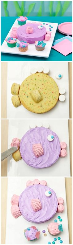 Under-the-sea birthday cake has just enough extra batter for a few cute fish cupcakes!