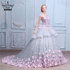Cheap dress wedding gowns, Buy Quality wedding gowns directly from China flower ball gown Suppliers: Pink Flower Ball Gown Wedding Dress Bridal Dress Robe De Mariage Mariee Princesa Wedding Dresses Wedding Gown 2017 Real Photo Floral Wedding Gown, Wedding Dress Organza, Gown Wedding, Backless Wedding, Wedding Dresses For Girls, Bridal Dresses, Prom Dresses, Dresses 2016, Dresses Online