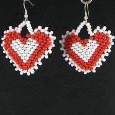 Red White Heart Beaded Earrings