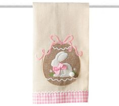 Linen tea towel with egg and bunny applique. Has pink and white gingham trim. Hand Wash X Bunny Crafts, Easter Crafts, Some Bunny Loves You, Christmas Towels, Embroidered Towels, Easter Projects, Quilted Table Runners, Easter Table, Tea Towels