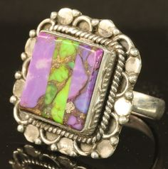 4.5 Carat Purple Green SQUARE TURQUOISE INLAY ~ Sterling Silver Ring ~ Size 7