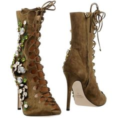 Gedebe Ankle Boots ($875) ❤ liked on Polyvore featuring shoes, boots, ankle booties, military green, olive green ankle boots, open toe booties, open-toe boots, bootie boots and open toe bootie