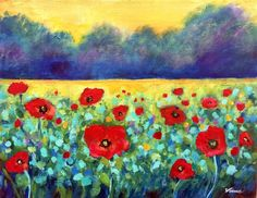 Poppies Original Landscape Painting  Art Flowers Still Life Impressionism Signed #Impressionism