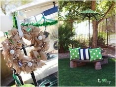 Love the burlap wreath....can put anything on it..but this one part of the golf party.The pillows are great!