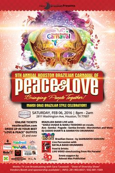 Houston Brazilian Carnaval tomorrow at Hughes Hangar. Tickets will be available from 8pm.