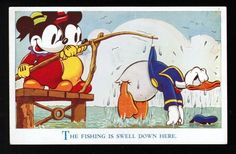 """the Fishing Is Swell Down Here""  DISNEYANA - DISNEYPOSTKORT - DISNEY POSTCARDWalt Disney Postcard, Valentine & Sons Ltd, o.a. Mickey Mouse series"