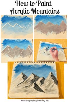 Learn How To Paint Mountains – Step By Step Acrylic Painting Tutorial - Painting Techniques Acrylic Painting Techniques, Painting Lessons, Art Techniques, Painting & Drawing, Acrylic Paintings, Oil Painting Tutorials, Gouache Painting, Mountain Drawing, Mountain Art