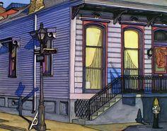 John Boles   WATERCOLOR             French Quarter Purple House Painting