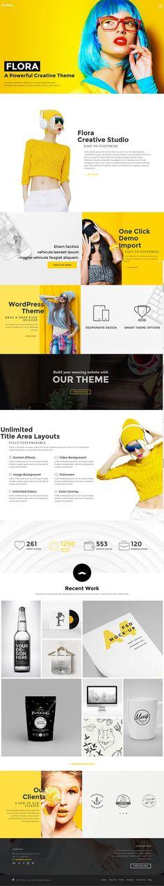 Flora - Responsive Creative Wordpress Theme by Wyde #themeforest #website #webdesign