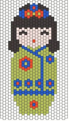 kokeshi verte Plus Peyote Patterns, Loom Patterns, Beading Patterns, Cross Stitch Patterns, Beaded Banners, Iron Beads, Peyote Beading, Japanese Embroidery, Kokeshi Dolls