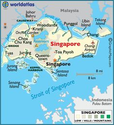 Singapore large color map