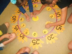 making a clock as a class in the intro lesson. Love the idea to put hands around the outside to count by 5s!
