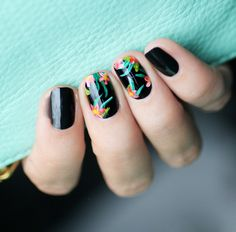 black and tropical floral nails