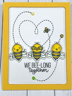 Handmade card using SSS Bee Yourself Card Kit 2019 Bee Stencil, Teachers Day Card, Doodle Art Journals, Honey Bee Stamps, Bee Cards, Bee Theme, Paper Hearts, Animal Cards, Card Making Inspiration