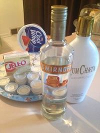 Caramel Rumchata Cheesecake Pudding Shots: 1 box vanilla pudding mix, 1 cup cold milk, ounces caramel vodka, ounces Rumchata, 1 tub of whipped topping Christmas Cocktails, Holiday Drinks, Party Drinks, Cocktail Drinks, Fun Drinks, Yummy Drinks, Jello Shot Recipes, Alcohol Recipes, Jello Shots