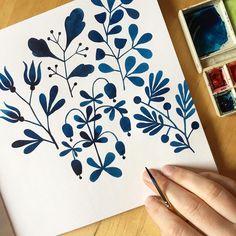 """5,285 Likes, 29 Comments - Kirsten Sevig (@kirstensevig) on Instagram: """"Progress... . #blueflowers #folkart #folk #flowers #watercolor #handbookwatercolorjournal…"""""""