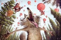 [image] Title: Big Bad Wolf Name: Tiago Hoisel Country: Brazil Software: Photoshop Illustration that I made for a campaing that didn't happen. Due to that angle, I tried to use the Sun´s bounce light as key light fo… Bad Wolf, Funny Illustration, Character Illustration, Wolf Character, Character Design, Main Character, Galaxy Saga, Munier, Digital Art Gallery