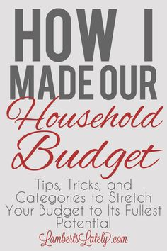 Great resource if youre planning a personal/household budget!