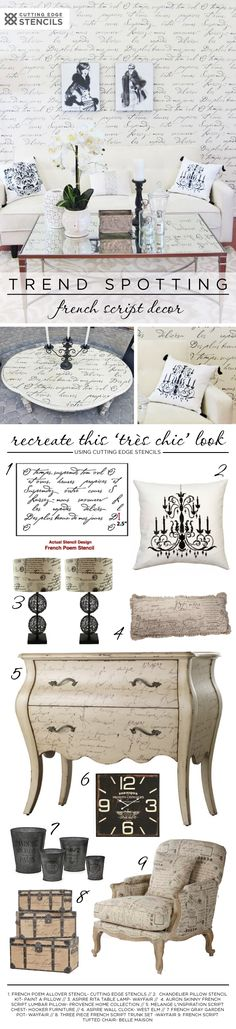 Recreate the French Typography home decor trend these DIY projects using the French Poem Stencil. http://www.cuttingedgestencils.com/french-poem-typography-letter-stencil.html