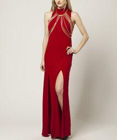 Another great find on #zulily! Red & Gold Slit Sleeveless Dress #zulilyfinds