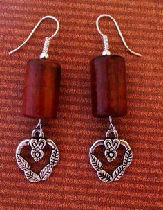 Image result for wood earring with wire inlay