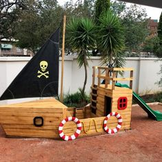 Pirate Ship Sandbox + Slide - The Wood Workshop Kids Outdoor Play, Outdoor Play Areas, Kids Play Area, Backyard For Kids, Diy For Kids, Casa Lego, Kids Sandbox, Sand Pit, Backyard Playground