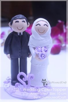 Indonesian Couple/ Wedding Clay #cake topper http://kurohouseofcraft.blogspot.com/2014/01/clay-wedding-couples-cake-toppers-by.html
