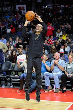 French Montana aimed high at the LA Clippers game on Saturday.