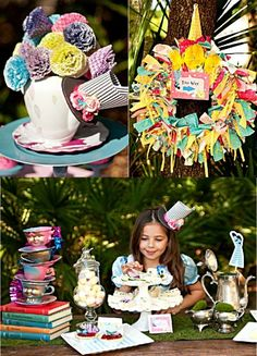 Alice in Wonderland inspired tea birthday party with lots of cute party DIY decorations, food and printables!