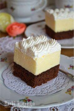 Barbi konyhája: Amerikai krémes ♥ Cold Desserts, Sweet Desserts, Delicious Desserts, Hungarian Desserts, Hungarian Recipes, Sweets Recipes, Cookie Recipes, Torte Cake, Czech Recipes