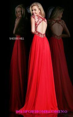 Sherri Hill 21321 Red High Neckline Homecoming Dress