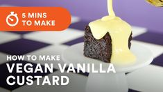 Vegan vanilla custard is a must with any apple pie, chocolate cake or ice-cream. It tastes exactly the same and this vegan recipe takes about 5 minutes to whip up using normal every day ingredients. Vegan Baking Recipes, Custard Recipes, Banana Recipes, Vegan Desserts, Hazelnut Cake, Flourless Chocolate Cakes, Cake Fillings, Vanilla Custard, Salty Cake