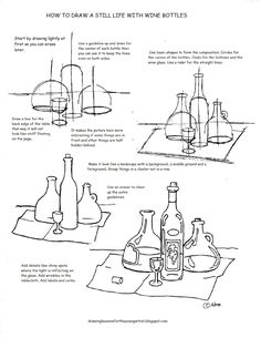 A free printable how to draw worksheet for how to draw a still life with wine bottles.