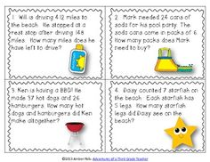 Here's a set of 24 summer and beach themed task cards with story problems using the operations of addition, subtraction, multiplication and division.