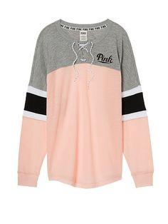 Lace-Up Varsity Crew PINK | Victoria secret&Pink | Pinterest ...