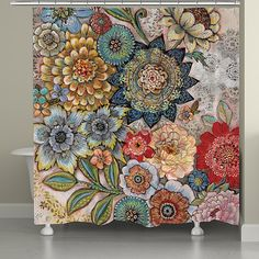 Add a whimsical aesthetic to your bathroom decor with the Laural Home Boho Bouquet Shower Curtain. Featuring intricately patterned blooming flowers in warm hues, this accessory will turn your bathroom into a bohemian retreat. Shower Curtain Sets, Shower Curtains, Bohemian Shower Curtain, Boho Curtains, Patterned Curtains, Purple Curtains, Bathroom Curtains, Bathroom Beadboard, Colorful Shower Curtain