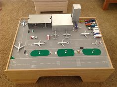 Kids playtable converted into an airport -all for my plane loving boy!! Kids play table