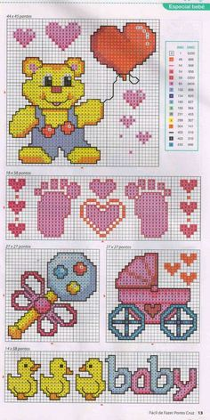 APEX ART is a place for share the some of arts and crafts such as cross stitch , embroidery,diamond painting , designs and patterns of them and a lot of othe. Baby Cross Stitch Patterns, Cross Stitch For Kids, Cross Stitch Borders, Cross Stitch Baby, Cross Stitch Designs, Baby Patterns, Cross Stitching, Cross Stitch Embroidery, Embroidery Patterns