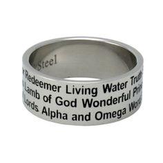 Christian Unisex Abstinence Stainless Steel 8mm Names of Jesus Ring - Righteous One, Savior, Redeemer, Eternal Life, Lamb of God, Messiah, Lord of Lords, Living Water, Wonderful, Alpha & Omega, Prince of Peace - Purity Ring for Guys & Girls Solid Rock Jewelry,http://www.amazon.com/dp/B004Q798ZQ/ref=cm_sw_r_pi_dp_3yPPrb5FF6E24289