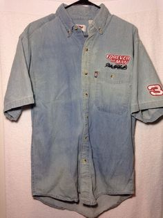 Vintage Dale Earnhardt Forever The Man Denim Short Sleeve Button Up Large #WinnersCircle