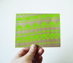 4 Kraft Geometric Holiday Greeting Cards Neon Pink by HelloHeyYo, $10.00