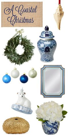 Calling all blue and white lovers! Here are my favorite coastal Christmas decor picks this holiday from One Kings Lane. Hues of the sand and sky.