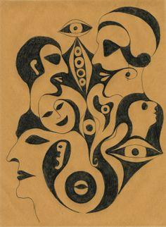 Bleistiftzeichnung von Sisi Bolliger, 1916-2010. Sie hat ihre Arbeiten nie publiziert oder ausgestellt. Die kleinen Farbstiftzeichnungen sind zu sehen auf www.aussenseiterk...