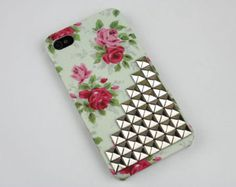Rose Hard Case With Cross Silver Stud For Apple iPhone 4 Case, iPhone 4s Case, iPhone 4s Case, iPhone 4 Hard Case