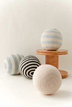 Crochet rattle balls in baby alpaca and pima cotton