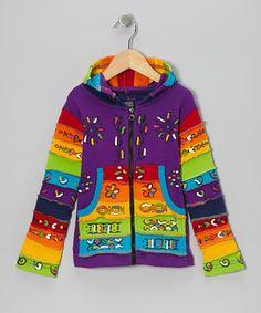 Look what I found on #zulily! Purple Rainbow Zip-Up Hoodie - Toddler & Girls #zulilyfinds