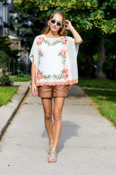 179cb665c2f embroidered poncho and vegan leather shorts — via  TheFoxandShe Fashion  Essentials